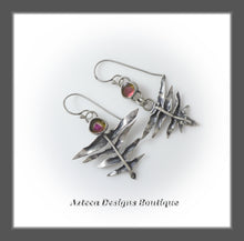 Load image into Gallery viewer, Watermelon Tourmaline+Fern Leaf+Hand Fabricated Argentium Silver Earrings