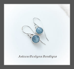 Aquamarine Rosecut+Argentium Silver+Dangle Earrings+Simply Her