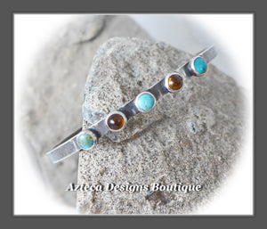 Argentium Silver Cuff+Kingman Turquoise+Baltic Amber+M/L
