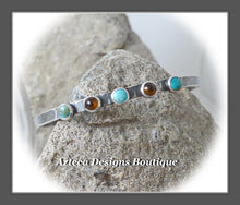 Load image into Gallery viewer, Argentium Silver Cuff+Kingman Turquoise+Baltic Amber+M/L