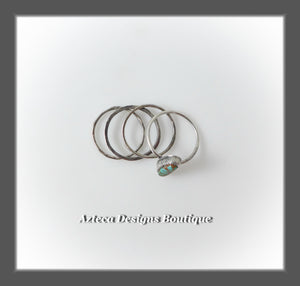 SIZE 8~ SET OF FOUR Sterling Silver and Turquoise Rings