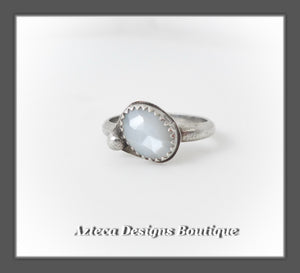 White Moonstone+Sterling Silver Ring Size 9