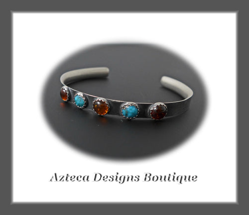 Sterling Silver Cuff+Sleeping Beauty Natural Turquoise+Baltic Amber+S/M