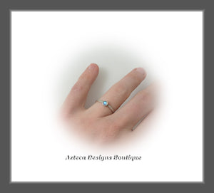 Size 6+Argentium Silver+Rainbow Moostone+Stacking Minimalist Ring