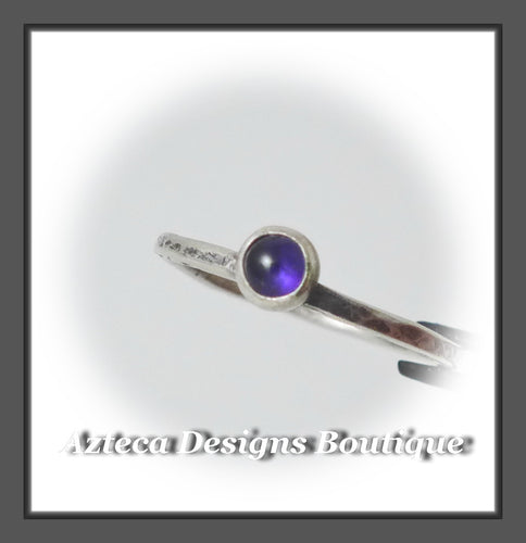 Size 6+Argentium Silver+Amethyst+Stacking Minimalist Ring