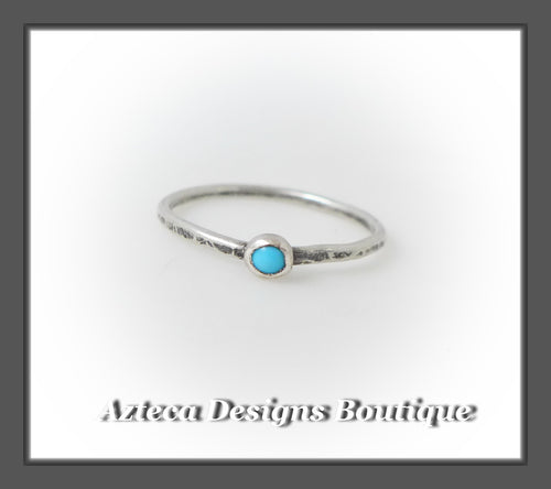 Size 6+Argentium Silver+Sleeping Beauty Turquoise+Stacking Minimalist Ring