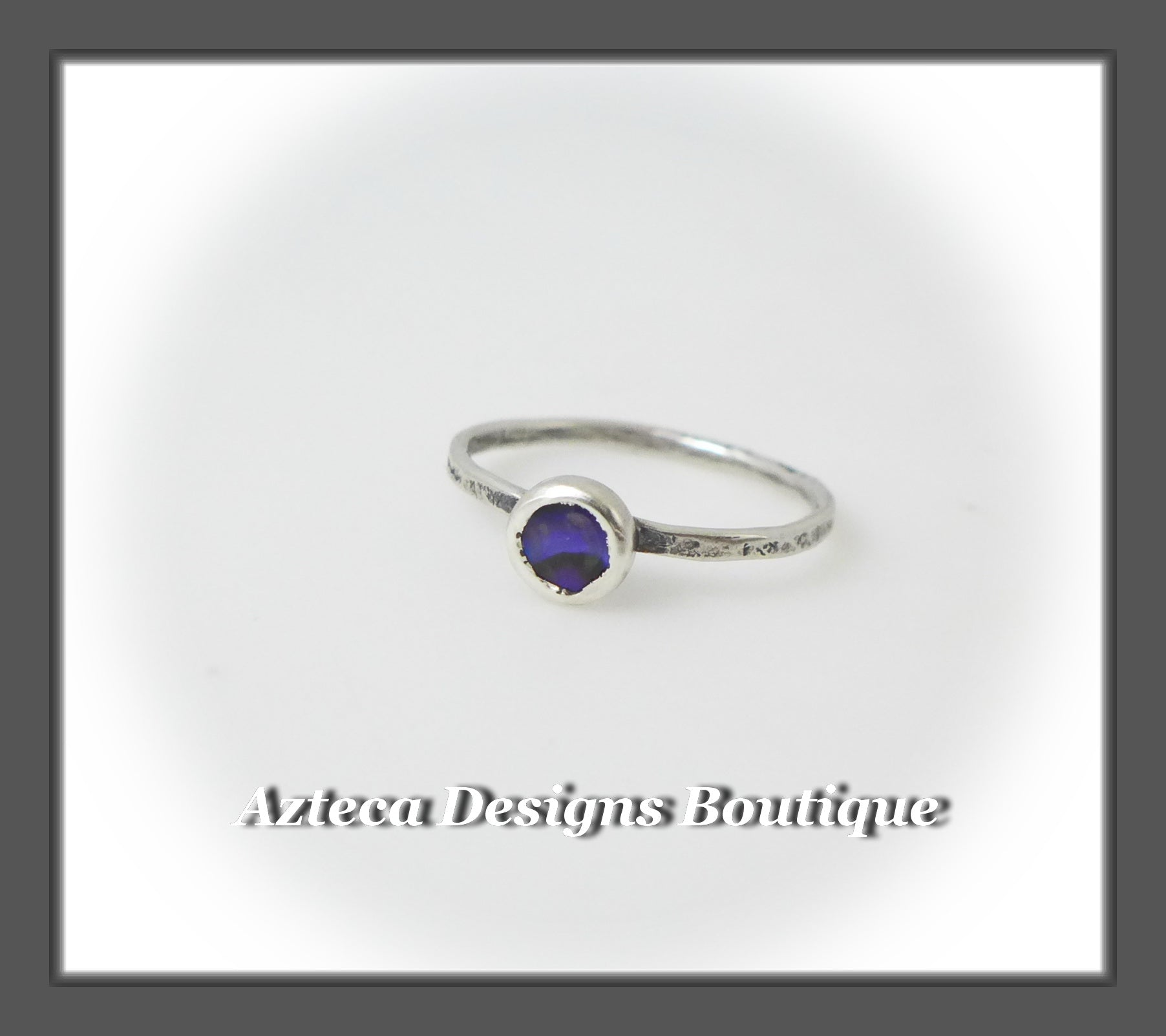 Size 6+Argentium Silver+Purple Abalone+Stacking Minimalist Ring
