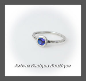Size 4+Argentium Silver+Purple Abalone+Stacking Minimalist Ring