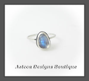 Size 9+Argentium Silver+Rainbow Moonstone+Stacking Minimalist Ring