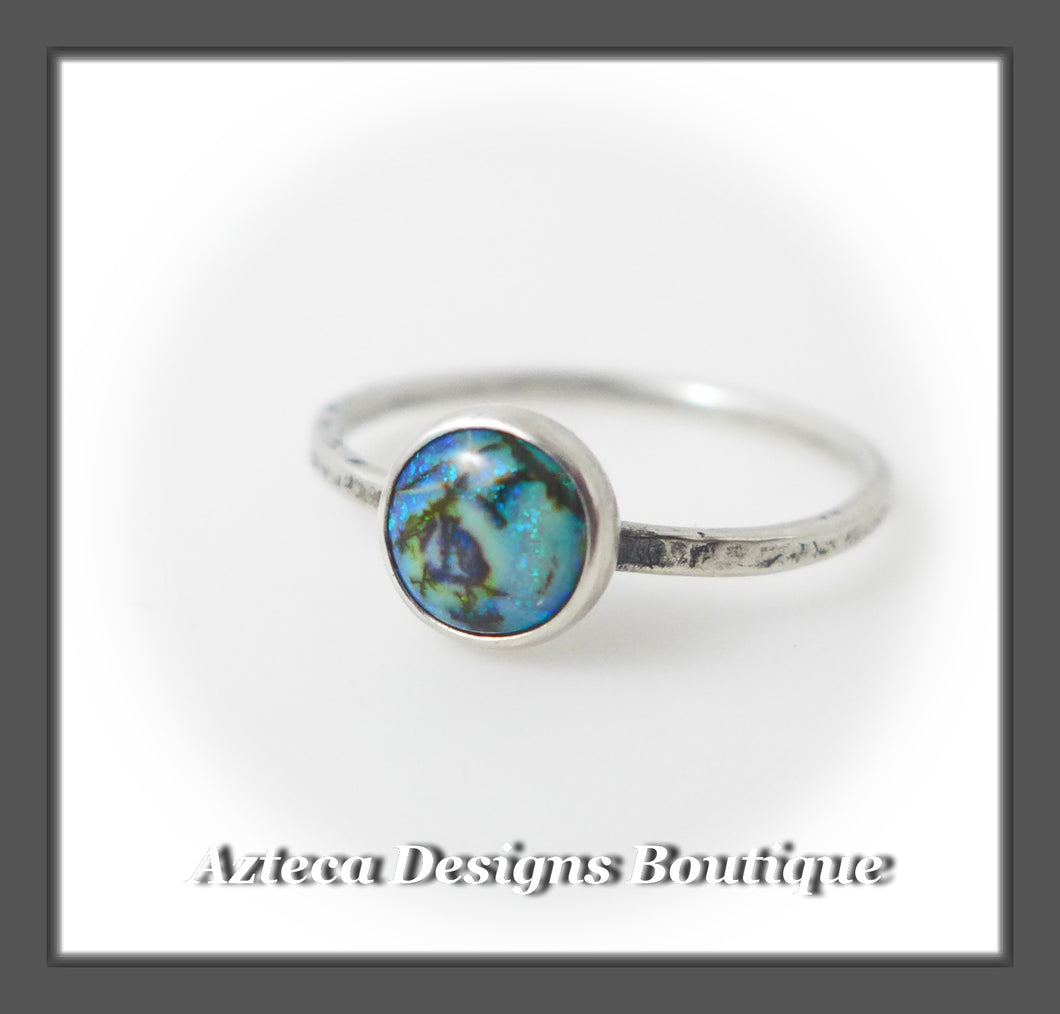 RESERVED FOR MERIDY Size 6+Argentium Silver+Cultured Opal+Stacking Minimalist Ring