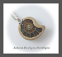 Load image into Gallery viewer, Dark Brown Ammonite Fossil+Hand Fabricated Primitive Style Necklace
