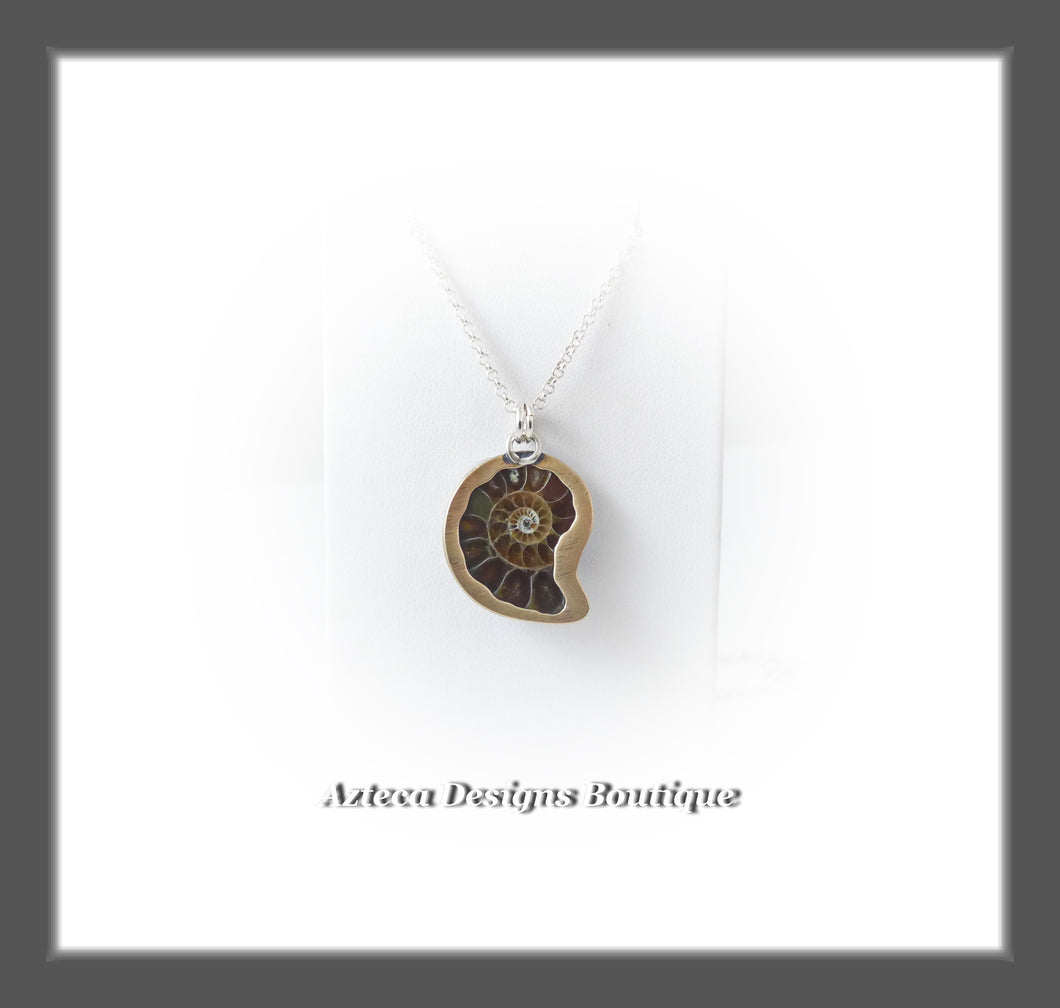 Dark Brown Ammonite Fossil+Hand Fabricated Primitive Style Necklace