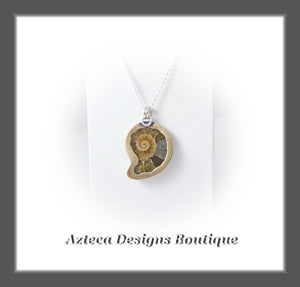 Light Brown Ammonite Fossil+Hand Fabricated Primitive Style Necklace