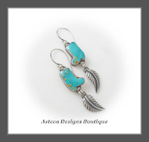 These Boots~ Kingman Turquoise Boots+Feather Charm Sterling Silver Earrings