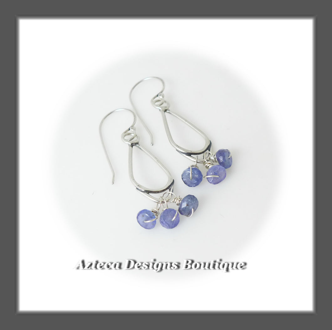 Tanzanite Clusters+Hand Fabricated Argentium Silver Earrings