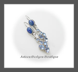 Lapis Lazuli+Up Cycled Pale Blue Faceted Charms+Argentium Silver Earrings