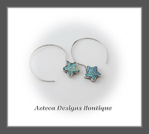 Catch A Falling Star~ Blue Green Druzy Agate Star Earrings+Argentium Silver