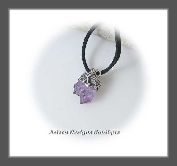 Amethyst Crystal Cluster+Sterling Silver+Leather Pendant Necklace