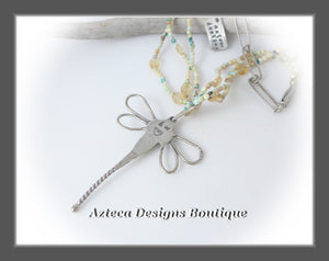 She Flies~ Dragonfly+Cultured Sterling Opal+Citrine+Hand Fabricated Silver Layered Necklace