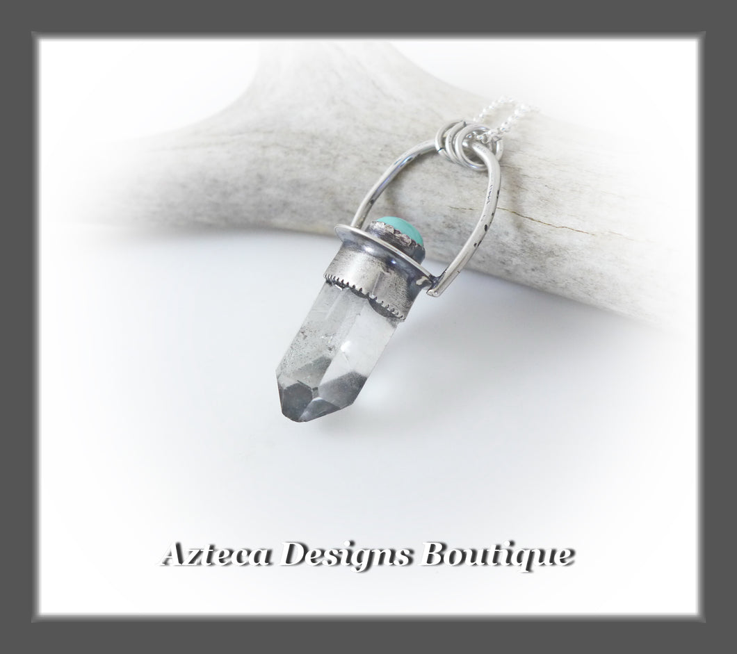 Clear Quartz Crystal+Turquoise+Hand Fabricated Sterling Silver Pendant Necklace