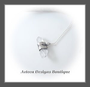 Clear Quartz Crystal+Horizontal Hand Fabricated Sterling Silver Pendant Necklace