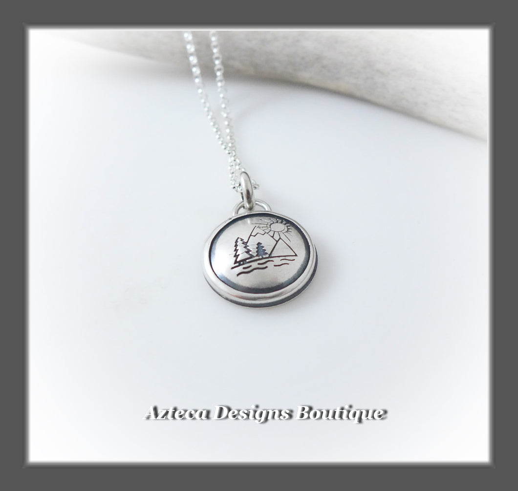 Mountain Scene Pendant Necklace+Hand Fabricated Sterling Silver