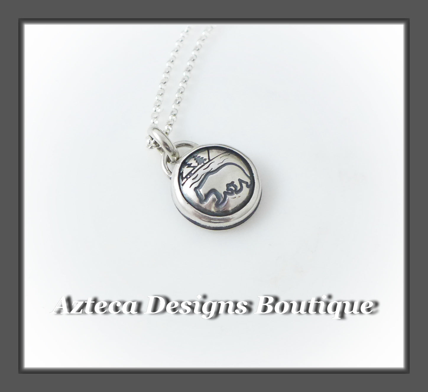 Mountain Animal Necklace+Hand Fabricated+Hand Stamped+ Sterling Silver
