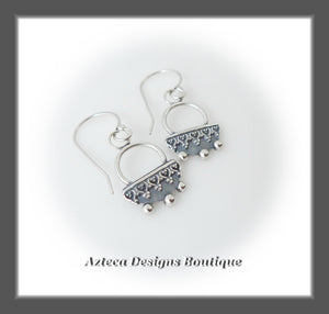 Argentium Silver+Hand Fabricated+Heart Lace Earrings