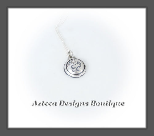 Moose+Medium Sized Pendant Necklace+Hand Fabricated Sterling Silver