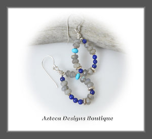 Big Sky Earrings+Argentium Silver+Turquoise+Lapis+Labradorite
