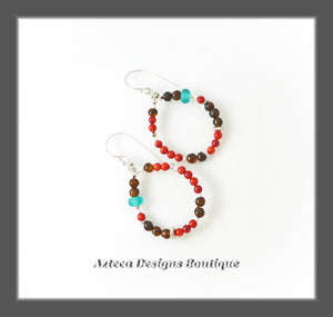 Autumn Leaves Earrings+Argentium Silver+Coral+Baltic Amber+Lampwork Beads