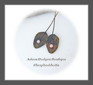 Copper Feather Component PAIR with Phosphosiderite Gemstones