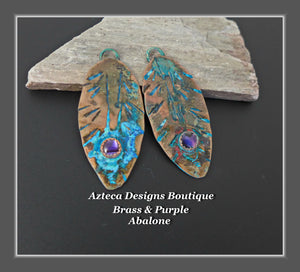 Brass+Purple Abalone+Feather Charm PAIR