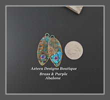 Load image into Gallery viewer, Brass+Purple Abalone+Feather Charm PAIR