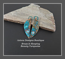 Load image into Gallery viewer, Brass+Sleeping Beauty Turquoise+Feather Charm PAIR Small #2