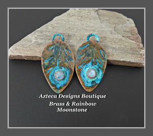 Brass+Rainbow Moonstone+Feather Charm PAIR Medium