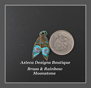 Brass+Rainbow Moonstone+Feather Charm PAIR Small