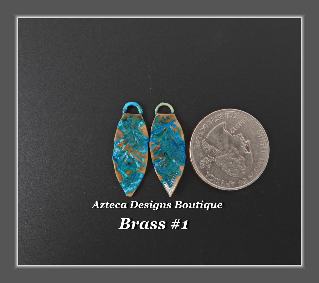 Brass+Feather Charm PAIR Small #1