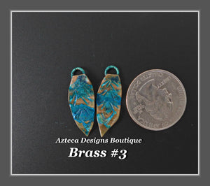 Brass+Feather Charm PAIR Small #3