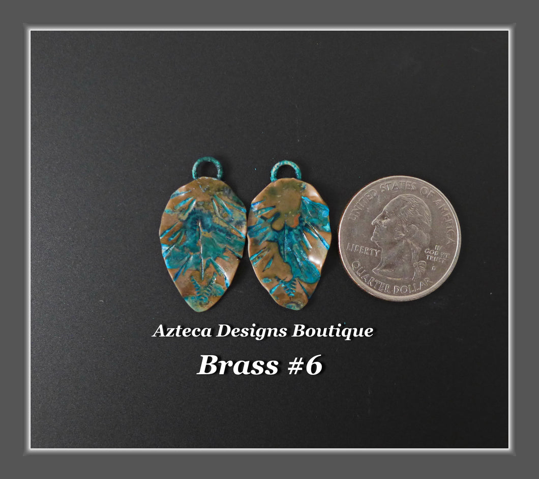 Brass+Feather Charm PAIR Medium #6