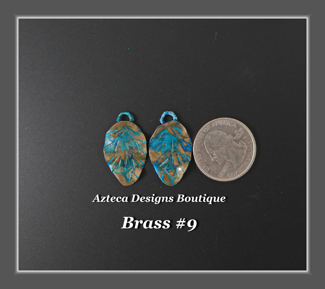 Brass+Feather Charm PAIR Medium #9