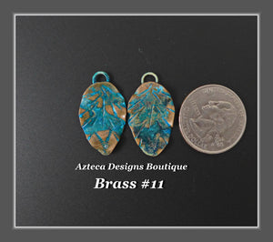 Brass+Feather Charm PAIR Medium #11