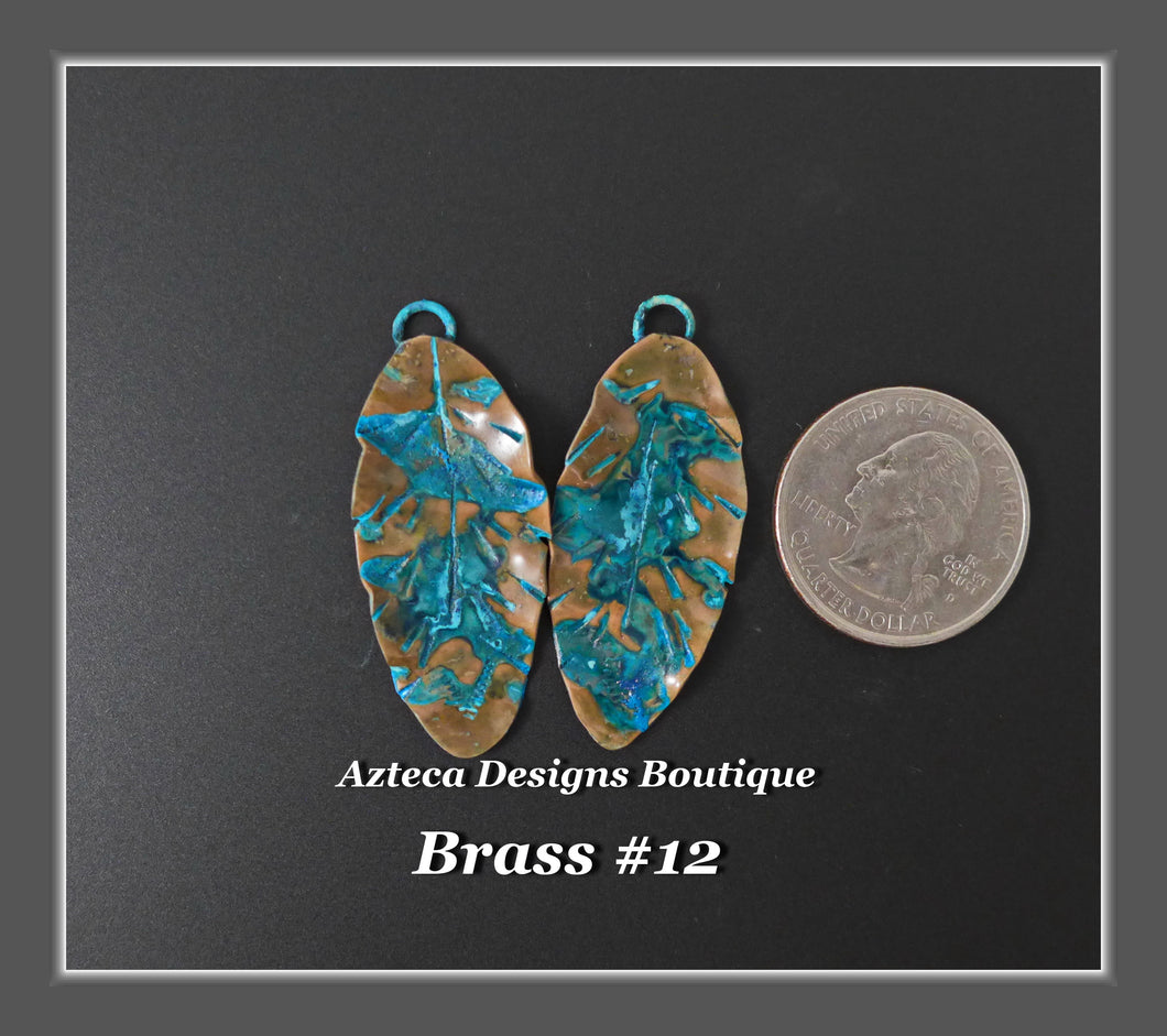 Brass+Feather Charm PAIR Large #12
