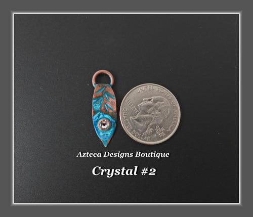 Copper+Feather Charm Single Small Swarovski Crystal #2