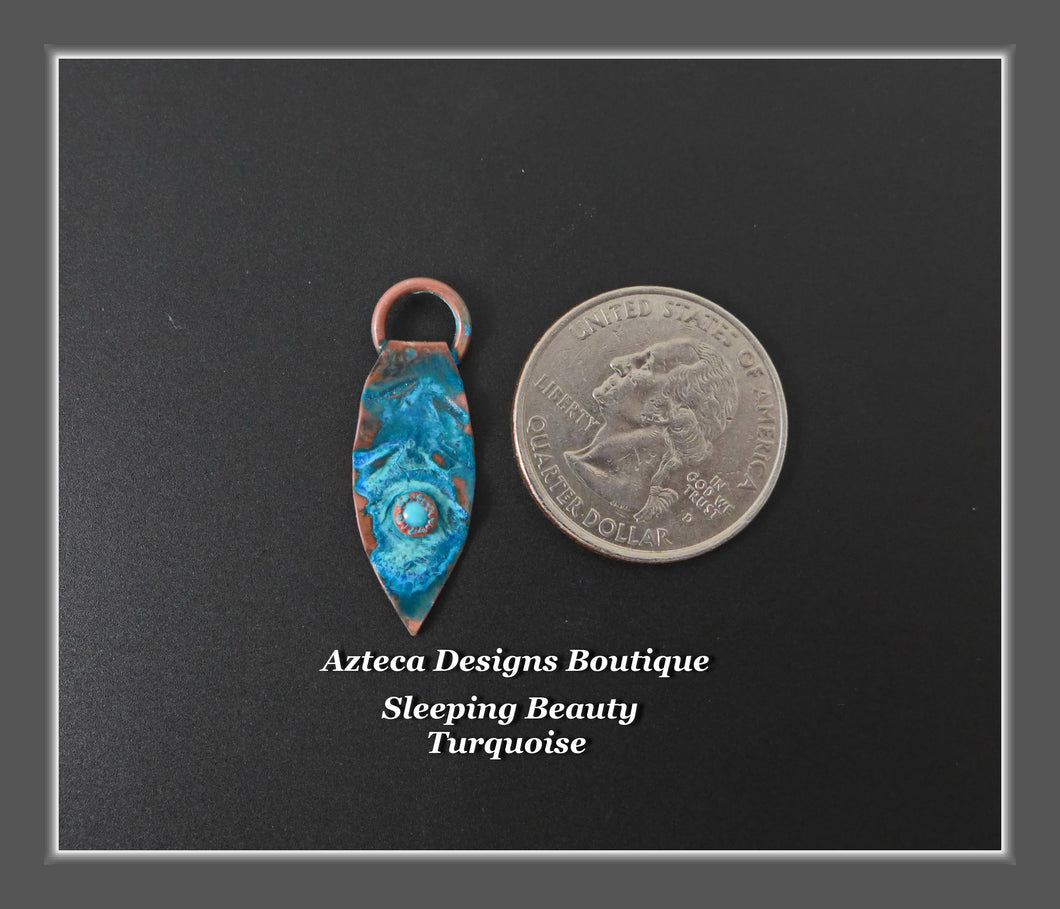 Copper+Feather Charm Single Small Sleeping Beauty Turquoise