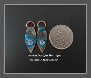 Copper+Feather Charm PAIR Rainbow Moonstone Small