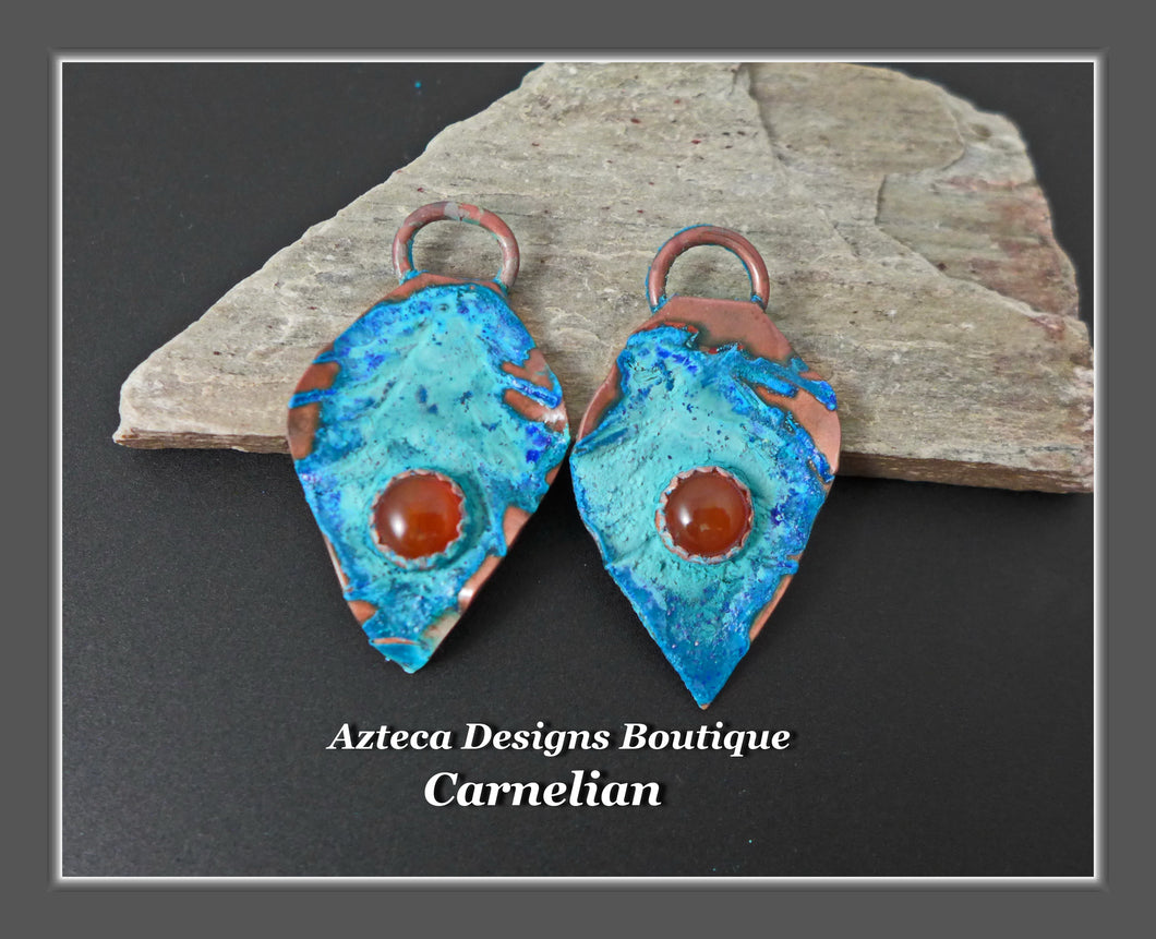 Copper+Carnelian+Feather Charm PAIR Medium
