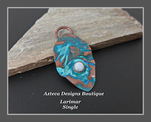 Copper+Larimar+Feather Charm Single Medium