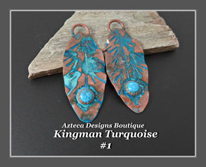Copper+Kingman Turquoise+Feather Charm PAIR Large #1