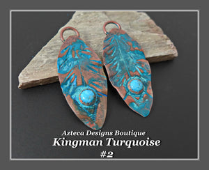 Copper+Kingman Turquoise+Feather Charm PAIR Large #2